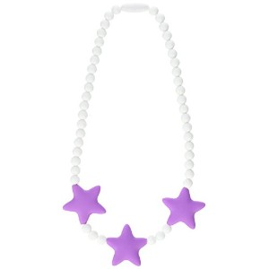 Stimtastic Chewable Silicone Beaded Stars Necklace Nontoxic BPA and Phthalate Free, Lilac/white by...