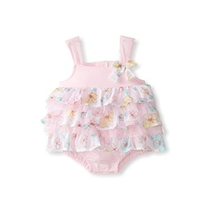 Little Lass Baby Girls' 1 Piece Pink Floral Ruffled Romper, 3/6 Months by Lil Lass