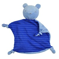 green sprouts Organic Blankie Animal Bear, Royal, 3 Months Plus by green sprouts