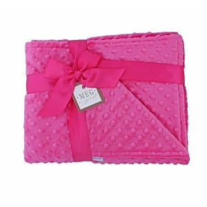 MEG Original Hot Pink Minky Dot Baby Girl/Toddler Crib Blanket 643 by MEG Original
