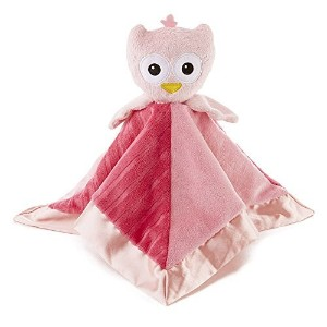 Snoozies Cozy Little Lovies Plush Satin Baby Blanket - Pink Owl by Snoozies