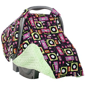 Elonka Nichole Baby Girl Carseat Canopy, Beat Box Vinyl Music Themed by Elonka Nichole