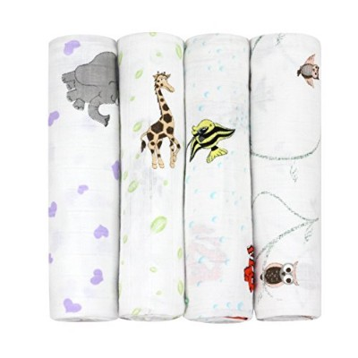 j & alex's 100% Cotton Muslin Swaddle Blankets in Little Animal Friends with Rockin' Green Laundry...