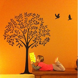 PopDecals - Linden Tree Dark Brown (57 in high ) - Beautiful Tree Wall Decals for Kids Rooms Teen...