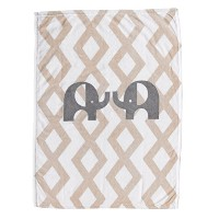 Lolli Living Printed Plush Blanket, Tan Elephant [並行輸入品]
