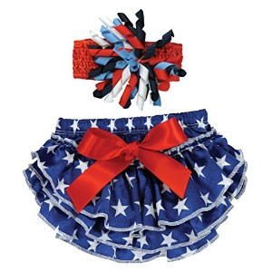 Stephan Baby Stars and Stripes Ruffled Diaper Cover and Curly Bow Headband, 12-18 Months by Stephan...
