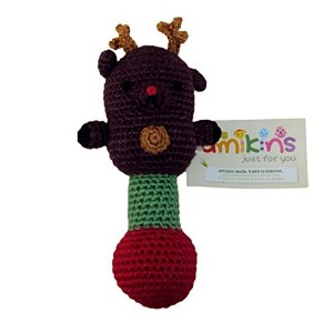 Baby Rattle - Reindeer Brown - Soft, Charming and Cuddly, Hand Crocheted with Organic Bamboo...