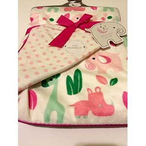 Safari Baby Girl Blanket Reversible by Sweet Lullaby