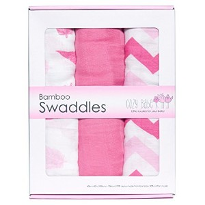 Bamboo Muslin Swaddles - - Softest Muslin Swaddle Blankets - Pink - Swaddle Blanket by Cozy Babe