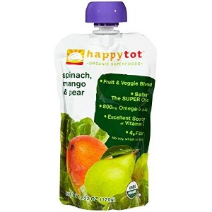 Happy Family happy tot Purees - Spinach Mango and Pear - 4.22 oz - 8 pack by Happy Family [並行輸入品]