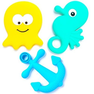BEBE Advanced 'Under the Sea' Teething Toys & Gift Bag - Gum Massagers, Studded & Large (Set of 3)...