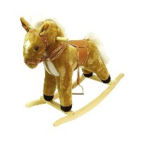 Tan Wood and Fabric Plush Rocking Horse Animal Toy with Sound [並行輸入品]