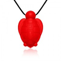 Siliconies Turtle Pendant - Silicone Necklace (Teething/Nursing/Sensory)(Red) [並行輸入品]