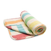 Henry and Brothers Large Double-layer Toddler Blanket, Relaxed Rainbow Stripe by Henry and Brothers