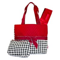 Red Houndstooth Quilted Diaper Bag with Changing Pad and Accessory Case - 3 Piece by NGIL