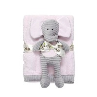 Chick Pea Baby Velboa Plush 2 Piece Blanket and Animal Toy Set, Pink Blanket & Grey Elephant by...