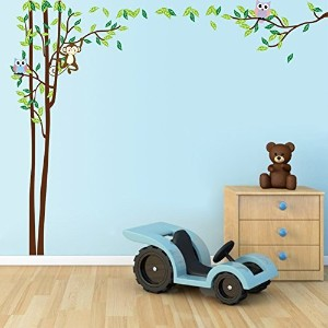 Ryuan Owl and Monkey on Tree Branch Wall Decal Sticker Large size Home Decor Nursery Wall Decorative...
