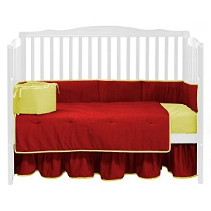 Baby Doll Bedding Solid Reversible Crib Bedding Set, Red/Yellow by BabyDoll Bedding