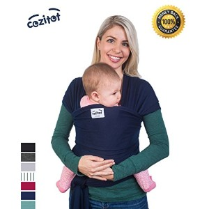 Navy Blue Baby Sling Wrap Carrier by Cozitot | Soft and Stretchy Baby Carrier | Baby Sling Carrier | Small to Plus Size Baby Sling | Nursing Cover | Best Baby Shower Gift by Cozitot
