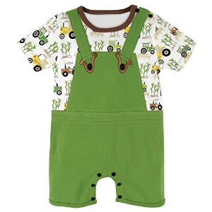 Stephan Baby Romper/Overall-Style Down on The Farm Tractor Diaper Cover, Green/White/Yellow, 6-12...