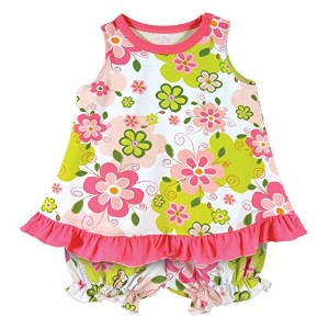Stephan Baby Ruffled Top and Bloomer-Style Diaper Swirly Flower Cover Set, Pink/Green/White, 3-6...