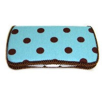 Blue and Brown Polka Dots Diaper clutch and baby wipes case by Ajo.Bebe [並行輸入品]