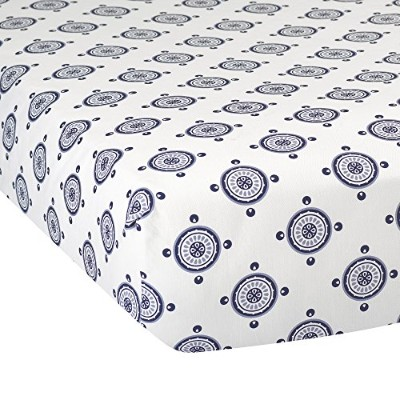Lambs & Ivy Class Navy Medallion Fitted Crib Sheet by Lambs & Ivy