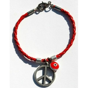 Peace Sign & Evil Eye Charm Braidedレザーブレスレット赤で