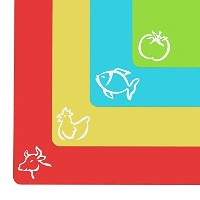 Extra Thick Flexible Plastic Cutting Board Mats With Food Icons & EZ-Grip Waffle Back(Set Of 4) by...
