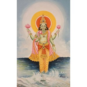 The Twelve Forms of the Sun (Surya) - ANSHUMAN - Water Color Painting On Cotton Fabric - Artist Mano