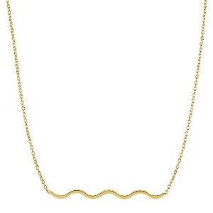 """14k Yellow Gold Round Tube S Style Wave Element Pendant On 18"""" Necklace"""