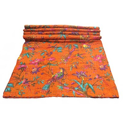 Bird Print King Size Kantha Quilt Orange, Kantha Blanket, Bed Cover, King Kantha bedspread,...