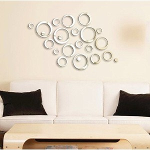24 Shining Circles Mirror Fashion Modern Design Silver Mural Art Home Office Wall Sticker Decor by...