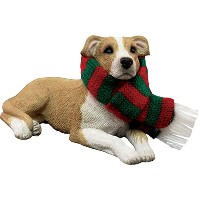 Sandicast Fawn Pit Bull Terrier with Red and Green Scarf Christmas Ornament [並行輸入品]