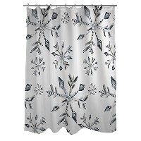 Bentin Home Deco Silver Snowflake Pattern Shower Curtain by Timree, White/Gray [並行輸入品]
