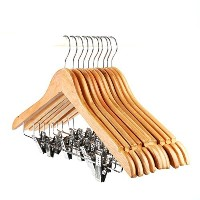 Tosnail 10-Pack Wooden Pant Hanger, Wooden Suit Hangers with Steel Clips and Hooks, Natural Wood...