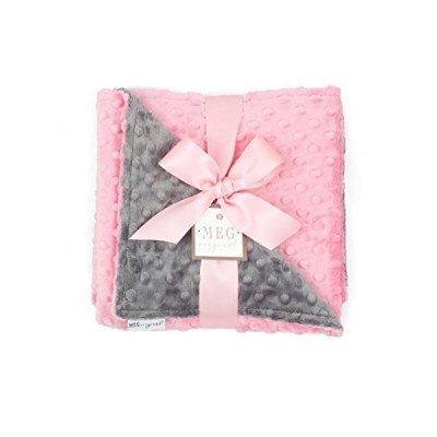 MEG Original Paris Pink & Charcoal Gray Minky Dot Baby Girl Blanket by MEG Original