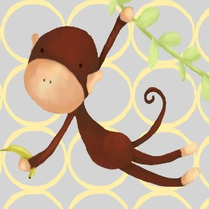Oopsy Daisy Hanging Monkey Yellow and Grey by Meghann O'Hara Canvas Wall Art, 10 by 10-Inch by Oopsy Daisy