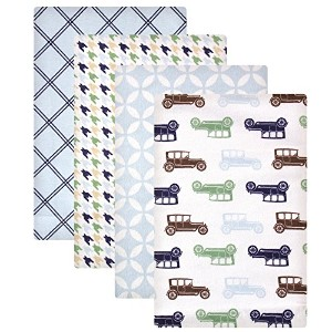 Hudson Baby Flannel Receiving Blankets, Blue Cars by Hudson Baby