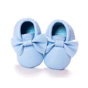 DESDEMONA Bow PU Leather Baby Boy Girl Infant Toddler Pre-walker Crib Shoes (M(5.3inches), Royal...