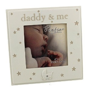 Simplistic Ivory Colored 'Daddy & Me' Photo Frame by Haysom Interiors by Haysom Interiors