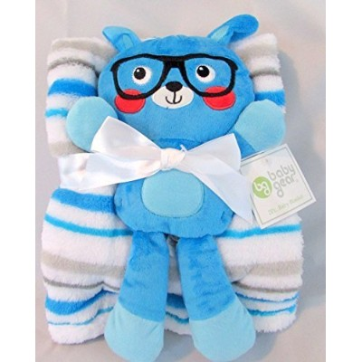 Baby Gear 2pc Baby Boy Blanket Soft Plush Dog Squeaky Toy Blue Green Stripe by Baby Gear
