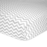 Carter's Cotton Fitted Crib Sheet, Smoke Grey Chevron by Carter's