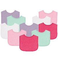 Luvable Friends Baby Bibs Value Pack, Pink/Purple, 6 x 7.5, 10 Count by Luvable Friends