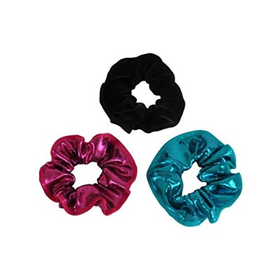 Obersee Kids Hair Tie Scrunchie, Emerald Blue/Black Cherry/Black Velvet, One Size by Obersee