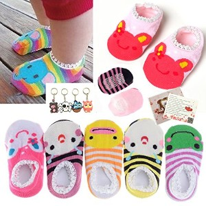 Fly-love? 5 Pairs Cute Baby Toddler Stripes Anti Slip Skid Socks No-Show Crew Boat Sock For 6-18...