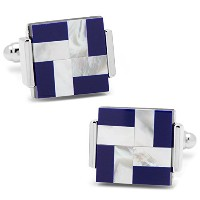 Mother of Pearl and Lapis風車Square Cufflinks