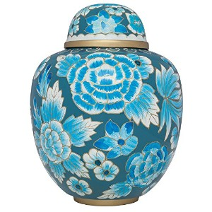Funeral Urn by Liliane – Cremation Urn for Human灰 – Hand Made Inアルミニウムフローラル柄エナメルデザイン – 表示Burial Urn...