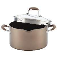 Anolon 6 Quart Advanced hard-anodized Nonstick Covered Stockpot with Locking Straining蓋、ブロンズ、ミディアム