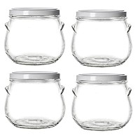NakpunarガラスTureen Jars withメタルPlastisol Lined Lids ホワイト GJR TRCL 2900 01-4WH